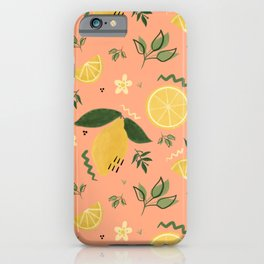 Whimsical Repeat Lemon Print Illustration - Coral iPhone Case