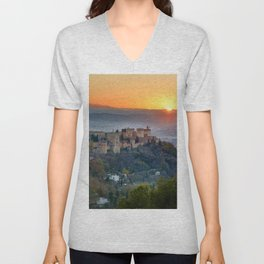 Red sunset at The Alhambra Palace Unisex V-Neck