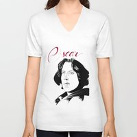 oscar wilde V-neck T-shirts featuring Oscar by beecharly