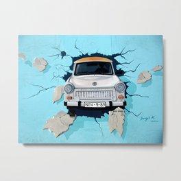 Taxi Breaking The Wall Metal Print