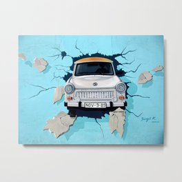 Taxi Breaking The Wall Metal Print