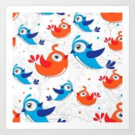 Two Bird Lovers Orange and Blue  Pattern Art Print