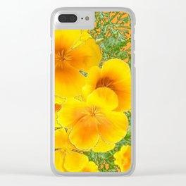 GOLDEN YELLOW CALIFORNIA POPPY WILD FLOWER PATTERNS Clear iPhone Case