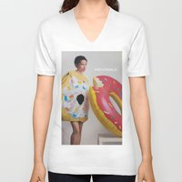 donut V-neck T-shirts featuring Donut by Sally Jane Fuerst