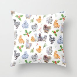 Silkie Chicken Winter Holiday Pattern Throw Pillow