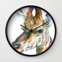 giraffe Wall Clocks featuring Giraffe by Brandon Keehner