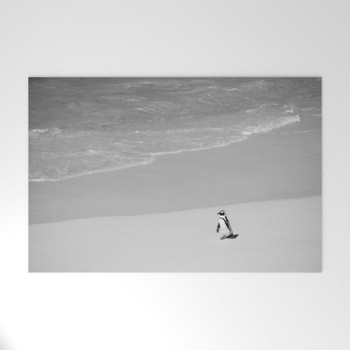 Lone African Penguin walking on beach Welcome Mat