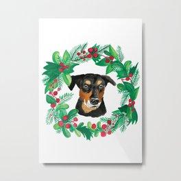 Doberman Pinscher Christmas Holiday Watercolor Card Metal Print