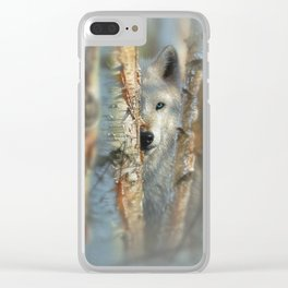 White Wolf - Focused Clear iPhone Case