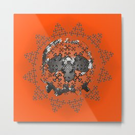Skull and Crossbones Medallion Metal Print