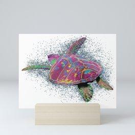 Sea Turtle - colorful swimming near the coral reef beach. Mini Art Print