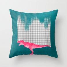 DinoRose - pinky tyrex Throw Pillow