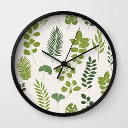 Tropical Leaf and Herb Pattern Wall Clock