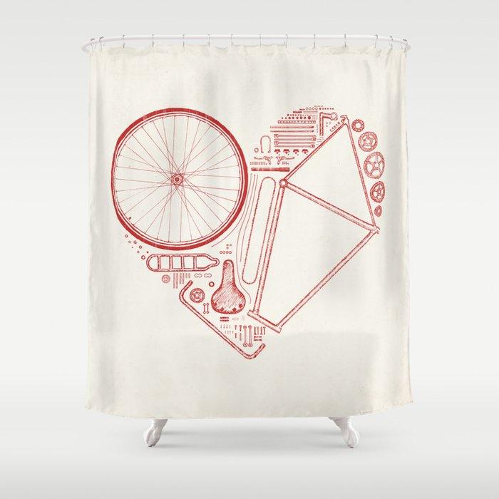 Love Bike Shower Curtain By Speakerine