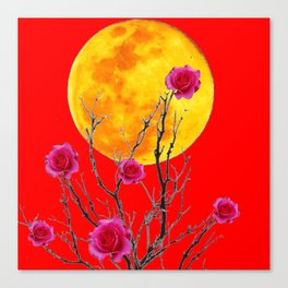 RED SURREAL FULL MOON & PINK WINTER ROSES Canvas Print