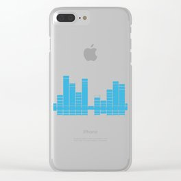 Blue Graphic Equalizer on Black Clear iPhone Case