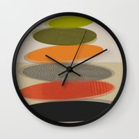 mid century modern Wall Clocks featuring Mid-Century Modern Ovals Abstract by Kippygirl