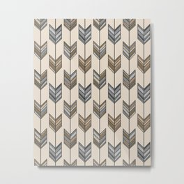 Boho Arrow Fletching Pattern - Neutral Brown and Grey Metal Print