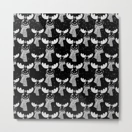 Funny Moose in Winter Snow on Black - Wild Animals - Mix & Match with Simplicity of Life Metal Print