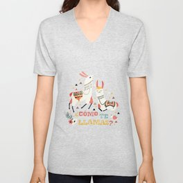 Como te Llamas. Funny Spanish Word Humor. Flowers and two Llamas Unisex V-Neck