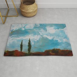 Cypress Trees encaustic wax painting by Seasons Kaz Sparks Rug