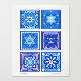 Talavera Mexican Tile – Blue Palette Canvas Print