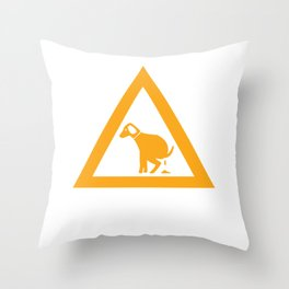 Caution Pooping Dog Throw Pillow