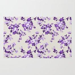 Vintage ivory lavender purple elegant roses floral Rug