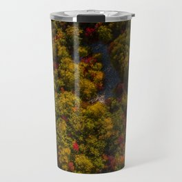 Aerial drone view of amazing autumn colors in fall forest. Travel Mug
