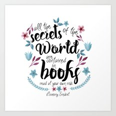 Book Secrets (Lemony Snicket Quote) Art Print