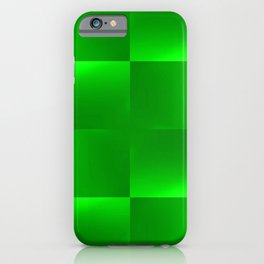 Shiny gradient Checks, green iPhone Case