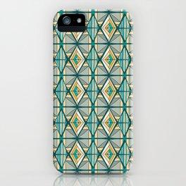 Hand Drawn Geometric Diamond Pattern Design - Green and Yellow iPhone Case