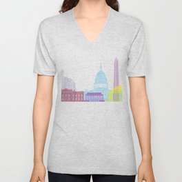 Washington DC skyline pop Unisex V-Neck