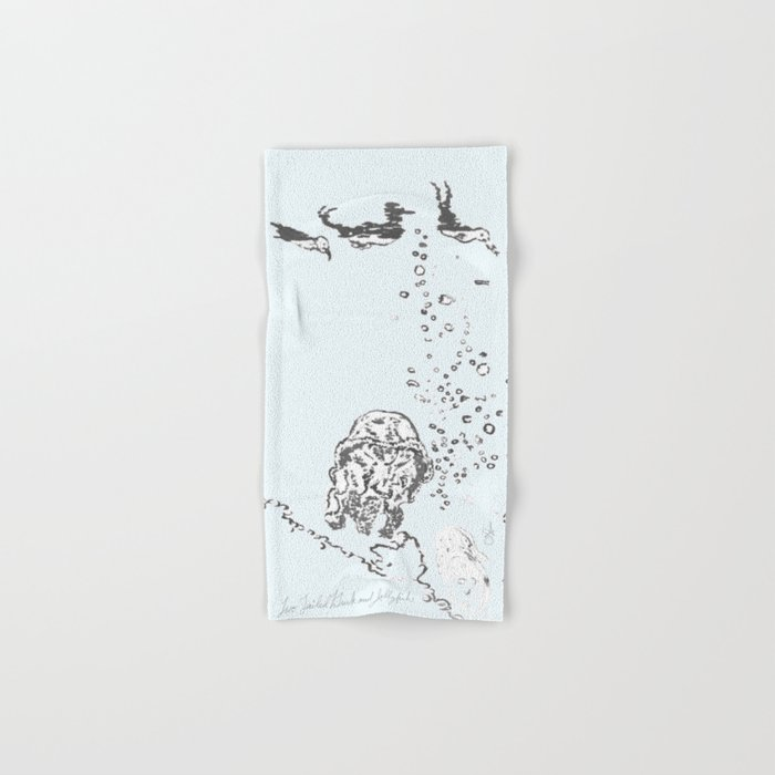 Two Tailed Duck and Jellyfish Pale Blue Hand & Bath Towel