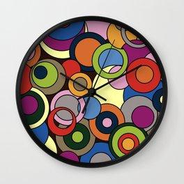 Colourful Circles -  abstract Artwork - doodling style Wall Clock