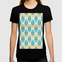 Mid Century Modern Abstract Floral Pattern in Turquoise Teal Aqua and Marigold T-shirt