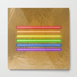 Flag Equality - gold Metal Print