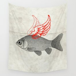 Flying Goldfish Wall Tapestry
