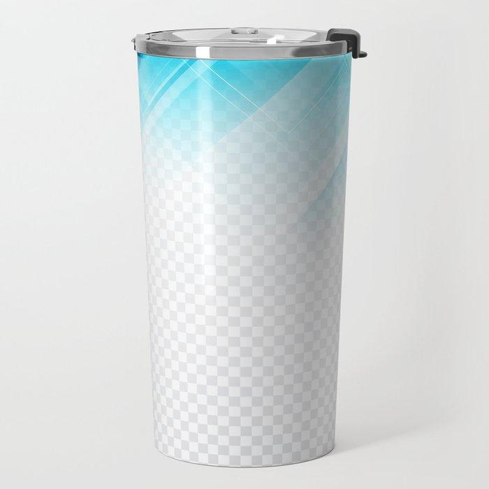 Blue geometric technological background Travel Mug
