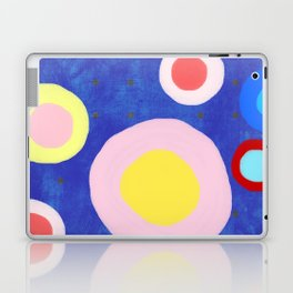 Marine Blue Watercolour Happy Circles Laptop & iPad Skin