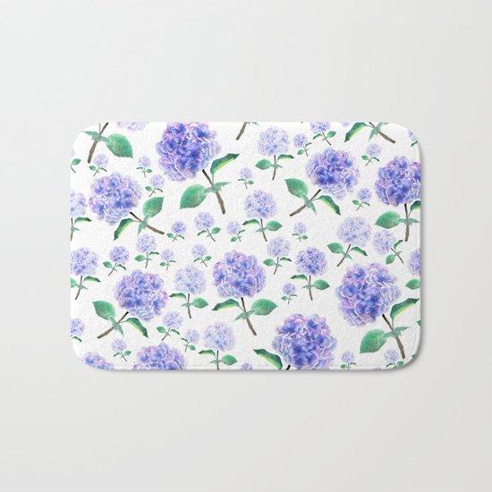 purple blue hydrangea pattern Bath Mat