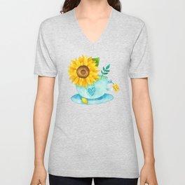 Sunflower Cup of Tea Unisex V-Neck