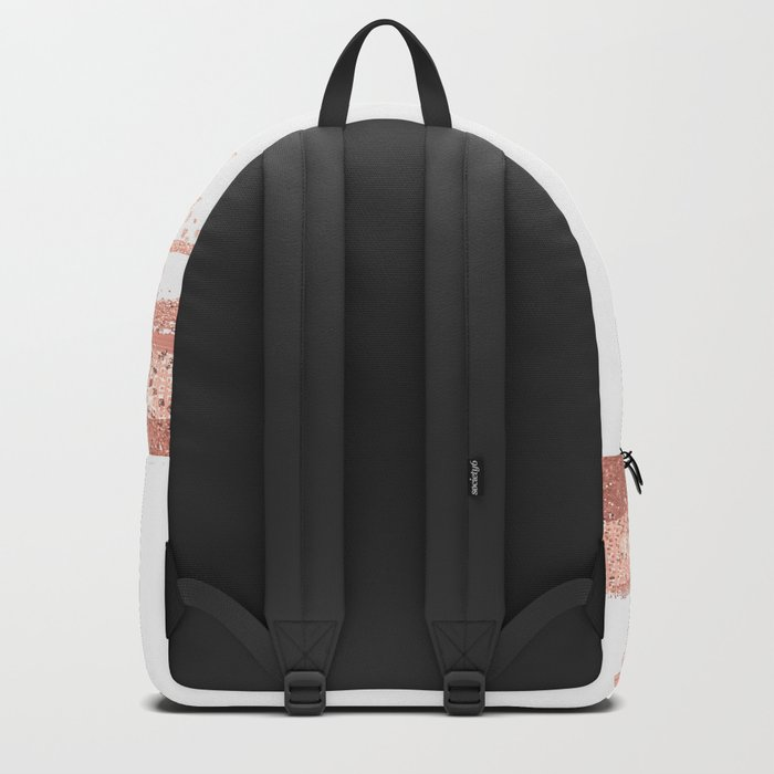 Rosegold brush strokes on white Backpack