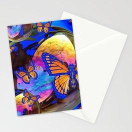 SURREAL BLUE  MONARCH BUTTERFLIES & IRIDESCENT BUBBLES  ART Stationery Cards