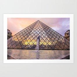 Louvre Lovely Sunset Art Print