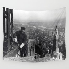 Construction worker Empire State Building NYC Wall Tapestry