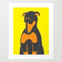 doberman Art Prints featuring Doberman by ununuctio