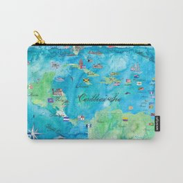 Caribbean Cruise Travel Poster Map Antilles West Indies Cuba Florida Carry-All Pouch