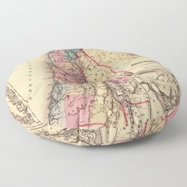 Map Of Palestine 1856 Floor Pillow