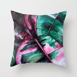 Aquarell Plant Stromanthe Sanguinea Throw Pillow
